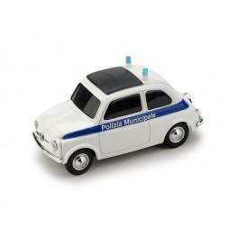 Fiat 500 Brums POLIZIA MUNICIPALE BIANCO-BLU - Art. BR035B